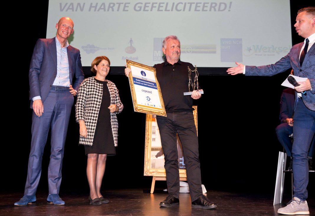 Winnaar ondernemersverkiezing van De Kracht van Delft Verbindt 2018.