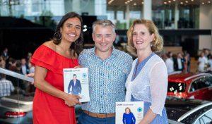 Foto van Sabine, Dennis en Nannette bij de lancering van Delft.business