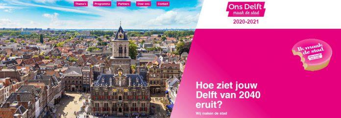 Foto van de homepage van Ons Delft, maak de stad website