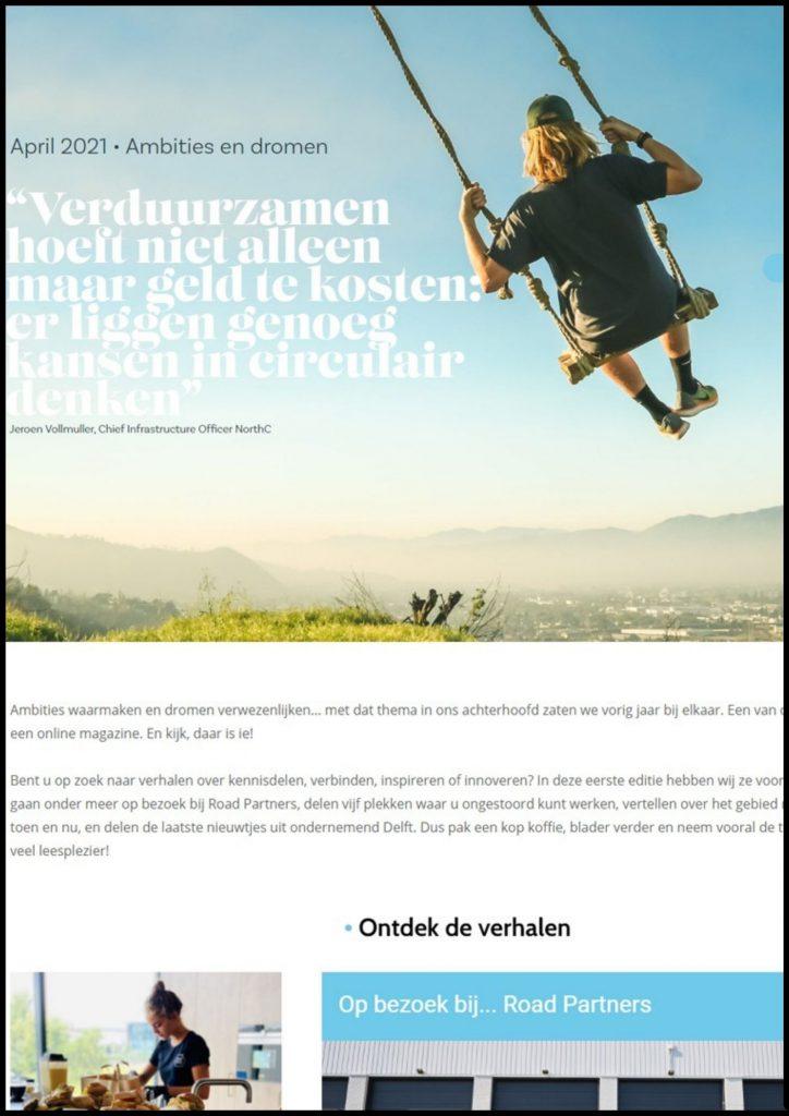 Screenshot Delft.business online magazine - homepage